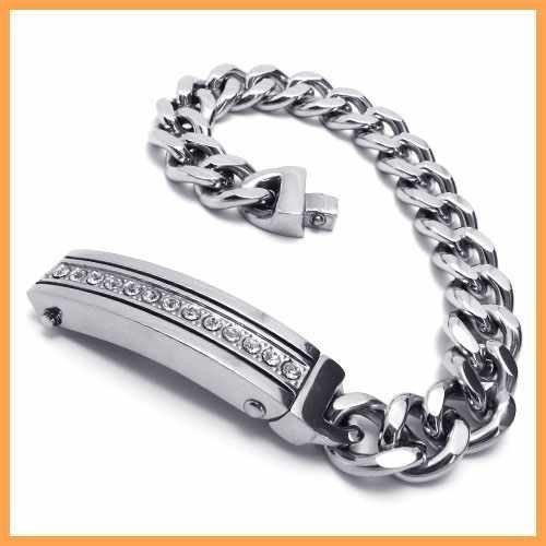 Fashion Jewelry Stainless Steel Bracelet Silvesr Slippy Strip Inset Zircon Curb Chains Men Cuff Bracelets 19052