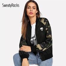 SweatyRocks на молнии с камуфляжным рукавом курточка бомбер Active Wear для женщин Стенд воротник Patched Топы корректирующие демисезонный повседневное пальт