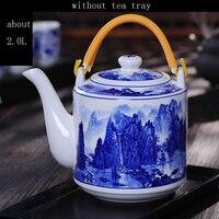 Jingdezhen De Cerámica Azul y Blanco de Porcelana Tetera de Gran Capacidad de La Vendimia Drinkware taza de Café Pote de Leche Flor Tetera de Agua En el Hogar