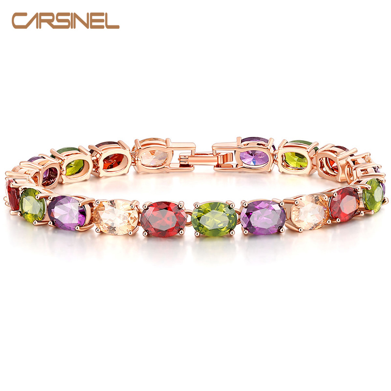 CARSINEL Trendy Multicolor Oval Cubic Zirconia CZ Bracelets Rose Gold-color Jewelry for Women Wholesale BR0127 vanaxin mens bracelets chain brass cubic zirconia silver color male bracelets cuba chian wholesale vintage punk jewelry gift box