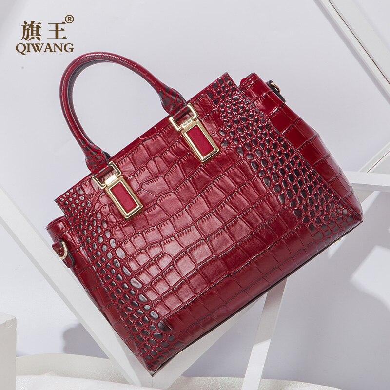 Qiwang Wine Authentic Women Bag 100% Genuine Leather Women Crocodile Hand bag Vintage Wine Handbag Women Fashion Tote bag цены онлайн