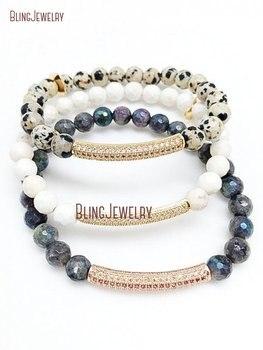 Micro Pave Bar Zircon CZ Bar Bracelet Stacking Dalmatian Jaspers Labradorite White Turquoises Howlite Beads Bracelet BM20348