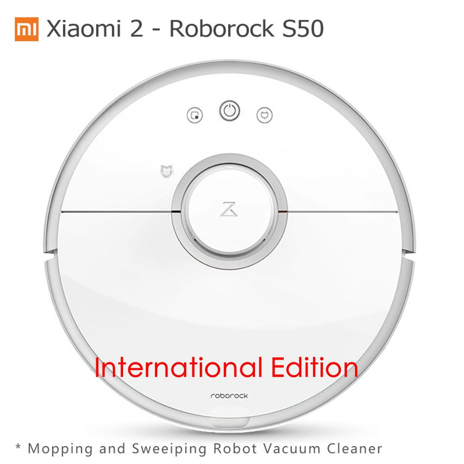 Xiaomi Mi 2 Roborock S50 Robot Vacuum Cleaner Wet Mopping Sweeping Xiaomi CE International Edition Mijia App Wifi Remote Control