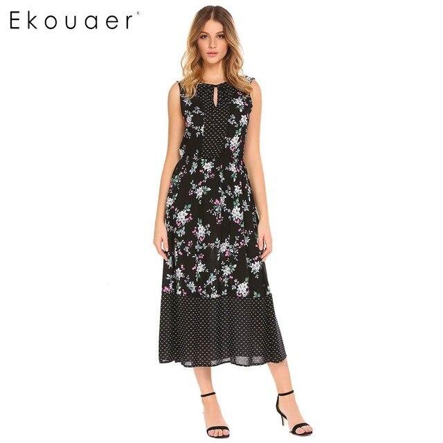de6e2bc86b Ekouaer Elegant Women Nightgown Sleepwear V-Neck Sleeveless Floral Print  High Waist Long Nightdress Female Sleep Dress Nightwear