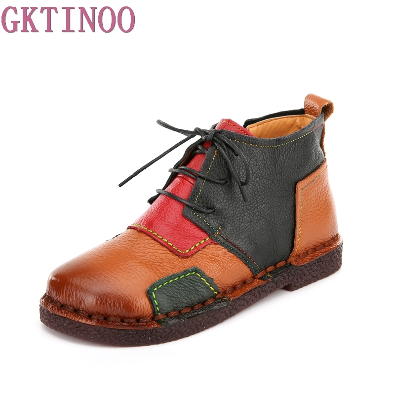 Women Ankle Boots Retro Handmade Woman Boots Genuine Leather Shoes Fashion Mixed Colors Lacing Boots Soft Comfort Casual Shoes handmade soft bottom fashion tassels baby moccasin newborn babies shoes 18 colors pu leather prewalkers boots