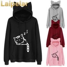 купить Laipelar Cartoon Cat Print Sweatshirt Long Sleeve Casual Women Pullovers Black Round Neck Cute Sweatshirt for Women Hoodies Top дешево