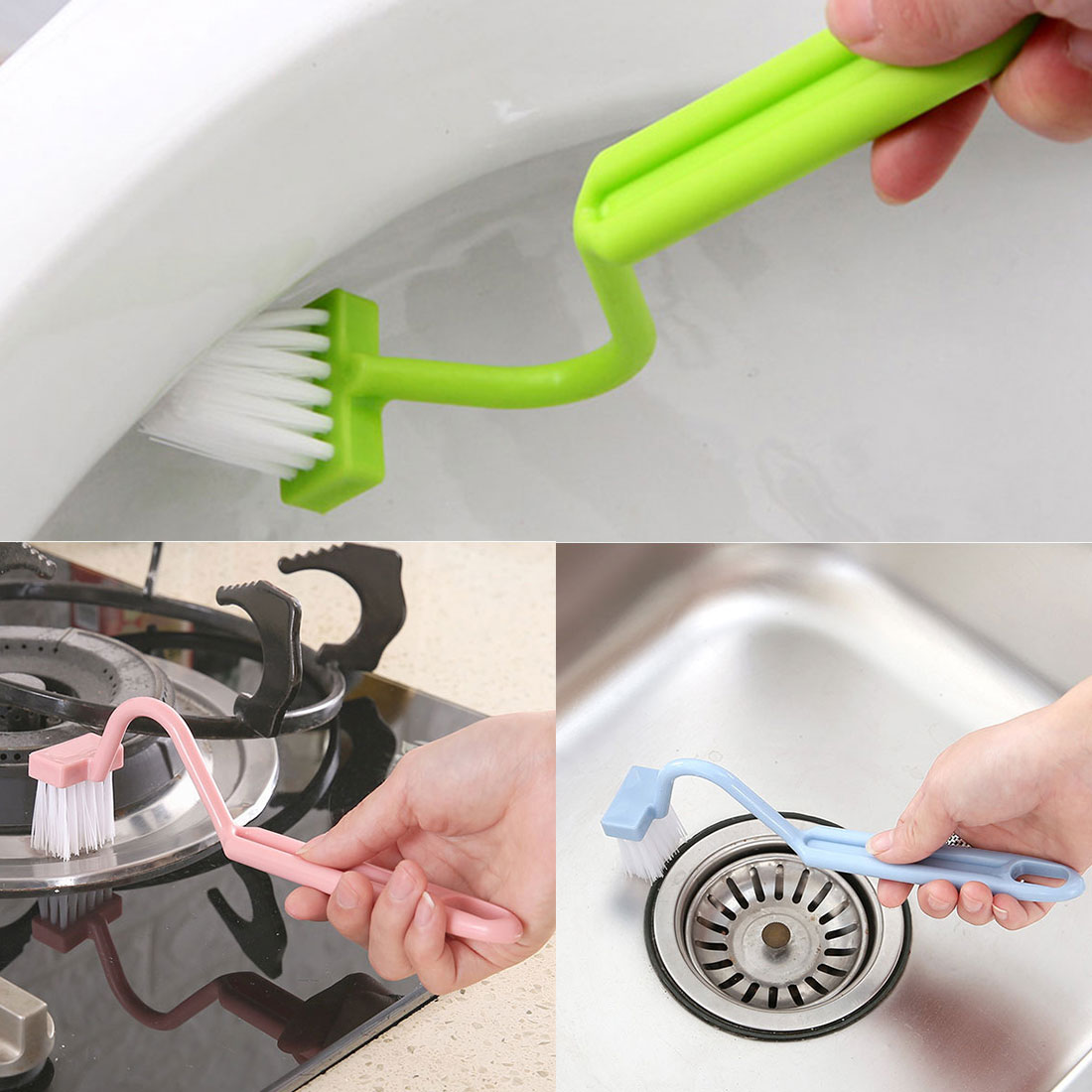 Curved portable toilet brush S-shaped toilet cleaning brush scrubber hot sale 2018 product cleaning brush 1pcs cleaning side image