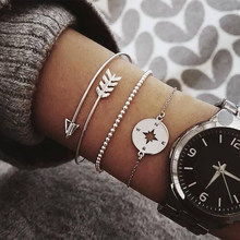 3 Pcs/set Vintage Silver Gold Letters Arrow Punk Key Stars Moon Simple Bracelet Set Women Party Jewelry Accessories(China)