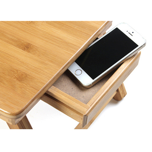 Image 2 - Bamboo Laptop Table Adjustable Computer Desk For Sofa Bed Folding Portable Laptop Table With Cooling Fan Notebook Stand Table