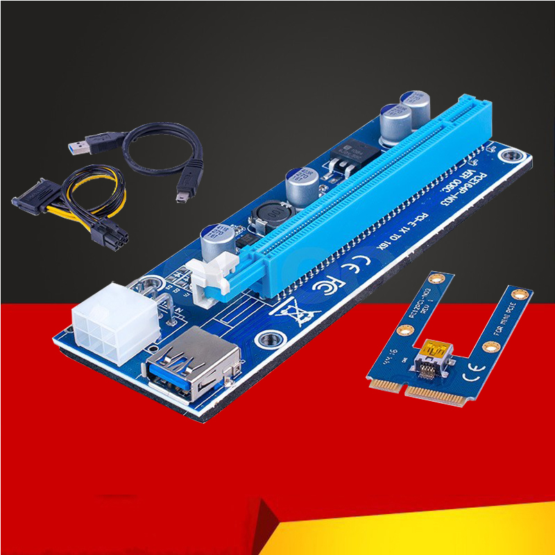 New Mini PCI Express PCI-E Riser Card PCIe 1x To 16x Adapter With SATA 6pin Cable USB Riser For Bitcoin Miner BTC Machine Mining