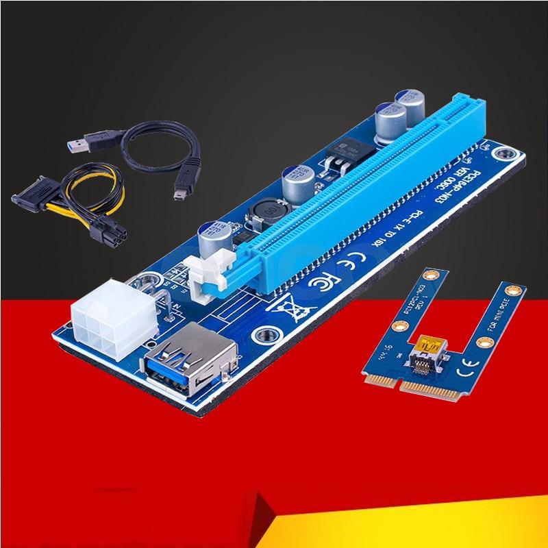 Nuevo Mini PCI Express PCI-E tarjeta Riser PCIe 1x a 16x adaptador con SATA 6pin Cable USB Riser para Bitcoin Miner BTC máquina minería