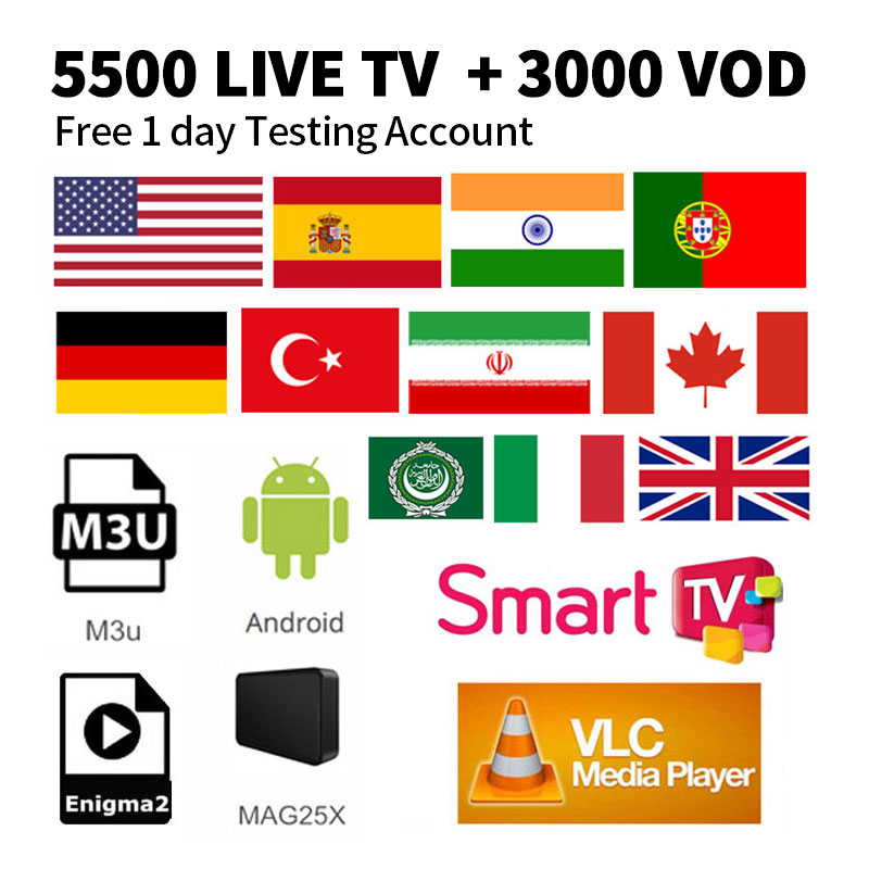 IPTV Subscription 5500 Channels HD Arabic Europe Italy Russia Africa France Germany India USA Canada Latin America Smart Ipt M3U