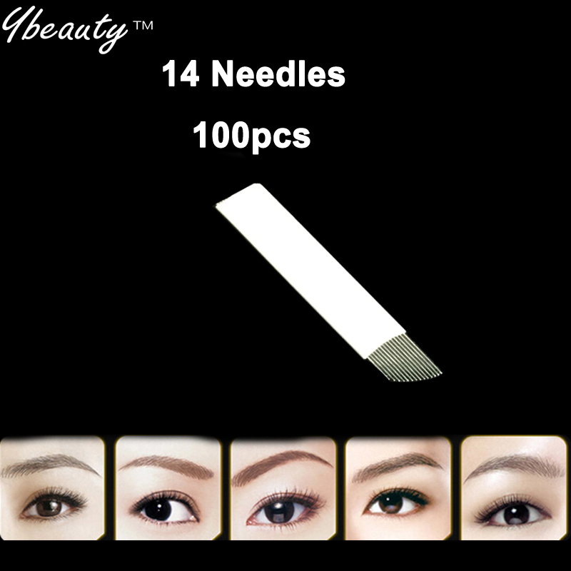 New 100pcs 11 Needles Permanent Makeup Manual Eyebrow Tattoo Needles Blade For 3D Embroidery Microblading Tattoo Pen Machine 1
