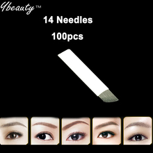 14 Needles Permanent Makeup Manual Needle Blades Tattoo Needles For Eyebrow Makeup Pen Bladess 100pcs/lots