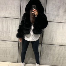 GO BALLISTIC YA natural fur jacket women real fox fur fox fur bombers hooded