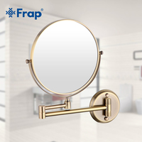 Frap Wall Mounted Vintage Antique Stainless Steel Brass Professional Vanity Mirror Bathroom Round Makeup Mirror Espelho