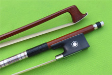 1 pcs Brazilwood Violin Bow 4/4 Straight Pretty inlay Nice F rog    High Quality #001