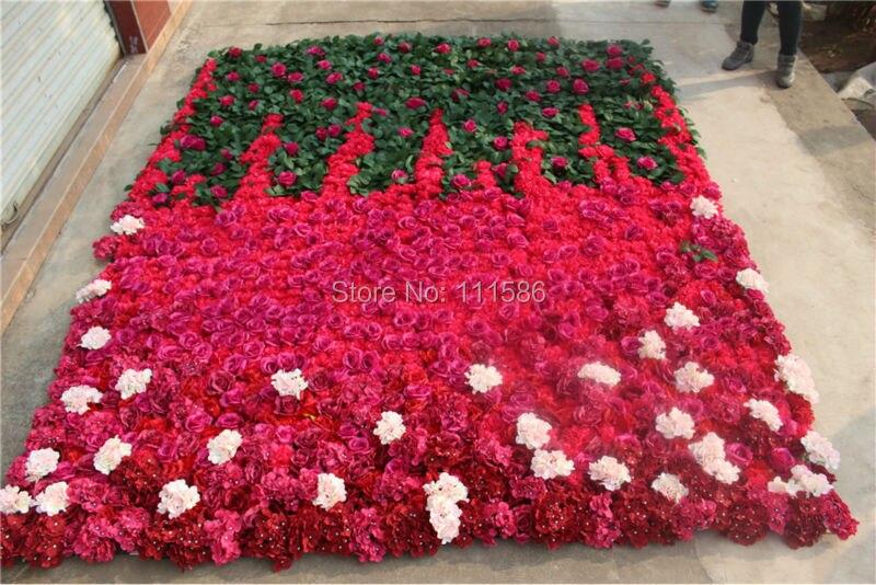 무료 배송 3 * 2.4 메터 인공 실크 장미 꽃 벽 웨딩 배경 배열 장식 꽃 웨딩 중심