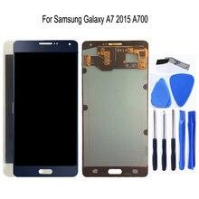 AMOLED לסמסונג גלקסי A7 2015 A700 A700F A700FD LCD תצוגת מסך מגע Digitizer עצרת עבור גלקסי A7 2015 טלפון חלקי