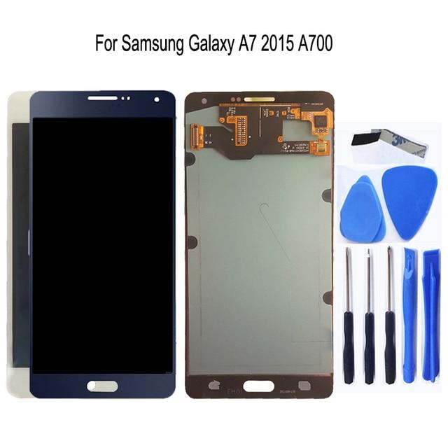 AMOLED لسامسونج غالاكسي A7 2015 A700 A700F A700FD شاشة LCD تعمل باللمس محول الأرقام الجمعية ل غالاكسي A7 2015 أجزاء الهاتف