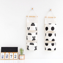 3 Pockets Black And White Hanging Bag Wall Cotton Linen Organizer Storage Bags Nordic Simple Style Pouch