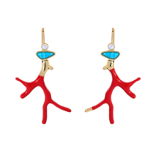 New Arrival Drop Earring Long Handmade Red Colro Enamel Branch For Women Best Sell Gift Wholesale