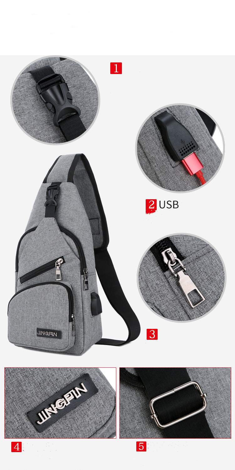 Beibaobao Male USB Charging  Anti Theft Chest Bag School Summer Short Trip 2020
