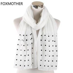 Image 1 - FOXMOTHER Vrouwen Wit Roze Effen sjaals Met bead studs sjaals shawl Wrap moslim hijab Sjaals stola foulard femme 2019