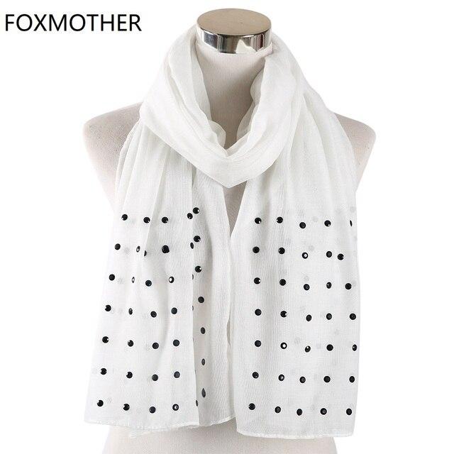 FOXMOTHER Vrouwen Wit Roze Effen sjaals Met bead studs sjaals shawl Wrap moslim hijab Sjaals stola foulard femme 2019