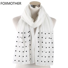 FOXMOTHER Women White Pink Solid scarfs With bead studs scarves shawl Wrap muslim hijab Scarves stoles foulard femme 2019