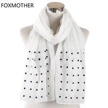 Foxmother women 화이트 핑크 솔리드 스카프 비드 스터드 스카프 숄 랩 이슬람 hijab 스카프 stoles foulard femme 2019