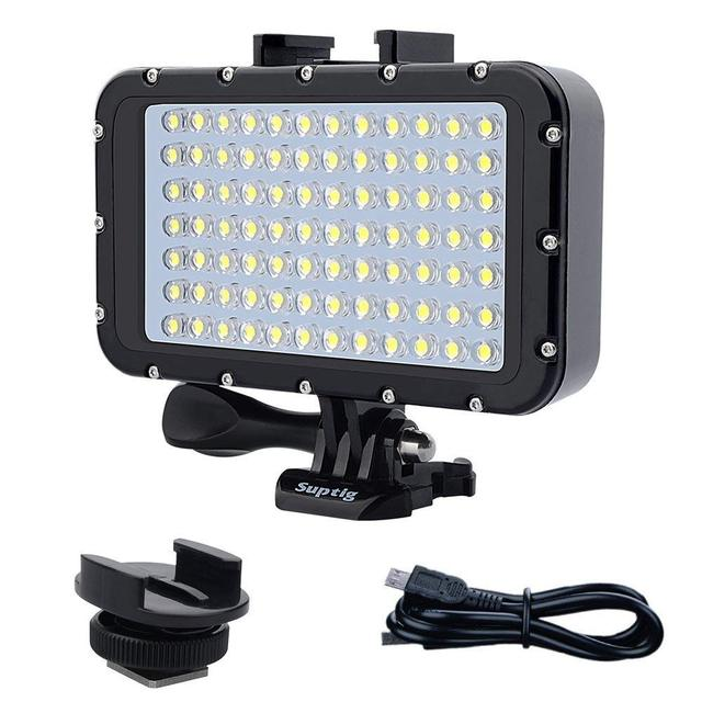 Suptig 84 LED High Power Dimmable Waterproof LED Video Light Waterproof 164ft(50m) For Gopro Hero 6 5 4 3 XiaomiYI  slr camera