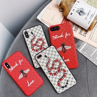 Fashion Bee Snake Soft TPU Case For iphone 6 6s 6plus 7 7plus Embossed Grid Silicone Back Cover For iphone X 8 8plus phone case