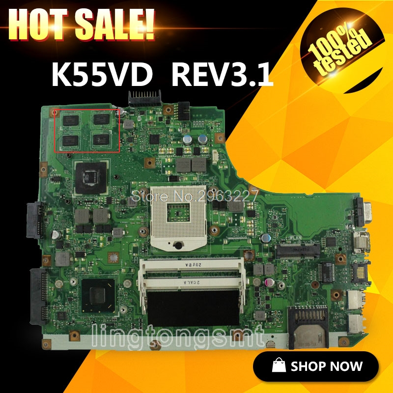Original for ASUS K55VD A55VD F55VD Motherboard K55VD Rev 3.1 GeForce 610M DDR3 With 2G Ram HM76 Chipset 100% Tested