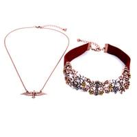 Antiguo color oro rosa pájaro colgante moda Suede cuero gargantilla declaración mujeres flor gargantilla collar