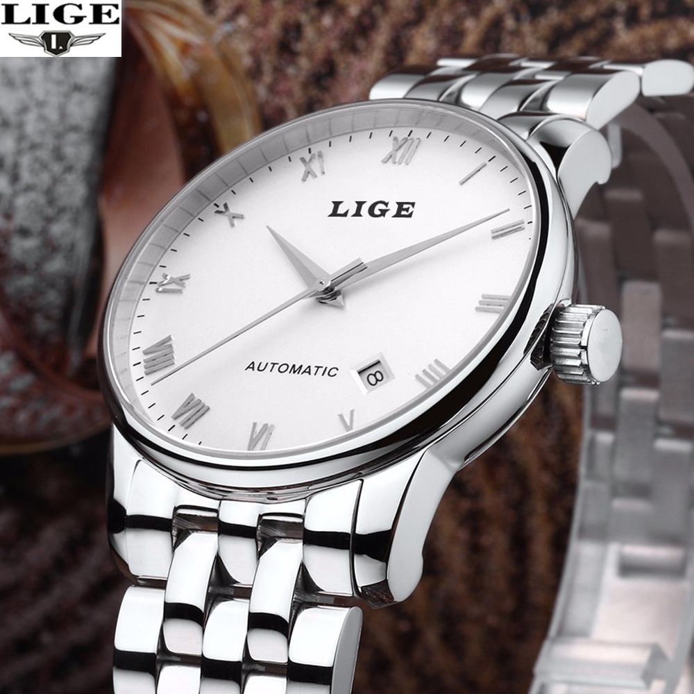 ФОТО Men Watches 2016 LIGE Automatic Self-Wind Date Watch Mens Brand Luxury Mechanical stainless steel Wristwatch relogio masculino