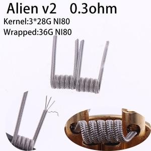 Image 3 - NEW XYF 50pcs/l00pcs Prebuilt Coil Clapton Twisted ALIEN V2 clapton wire coils Heating Resistance Wire Fit RDA RDTA DIY Atomizer