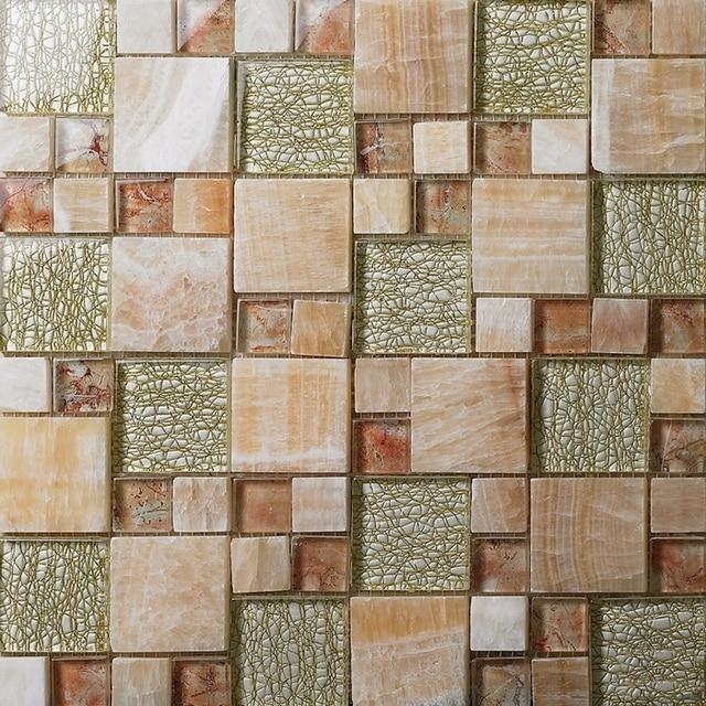 Patrón cuadrado de piedra de mosaico de vidrio mezclado baldosas de ...