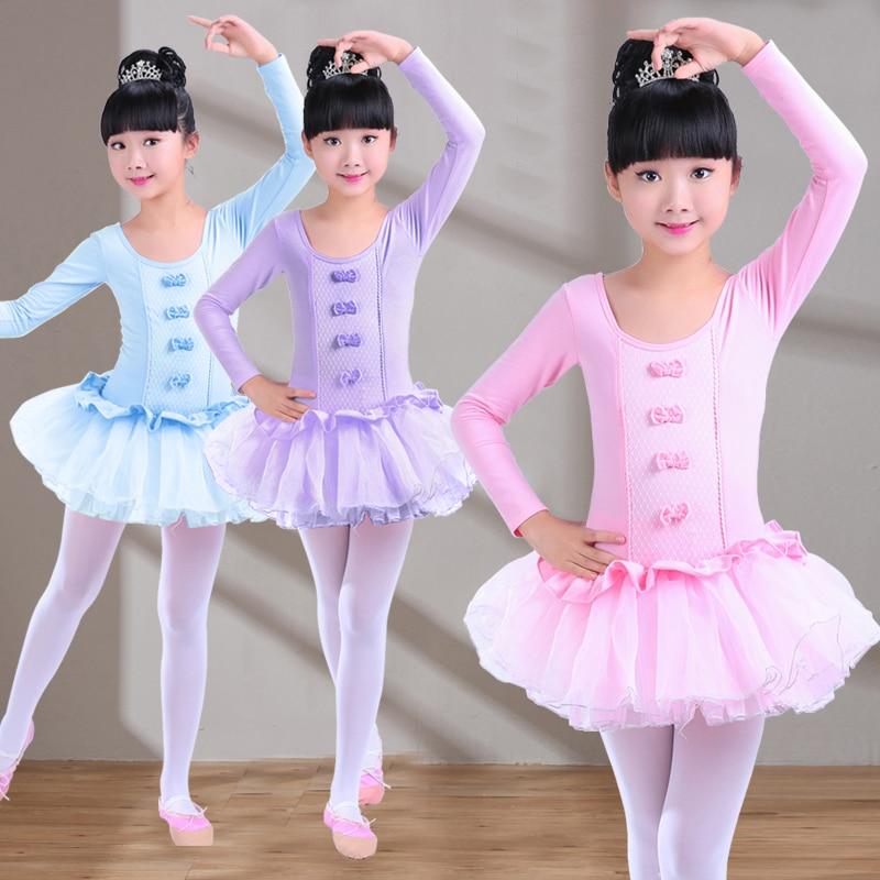 2017 Long Sleeve Children Gymnastics Leotard For Girls Lace Bow-knot Ballet Tutu Dance Dress Pink Ballet Dance Costumes For Kids