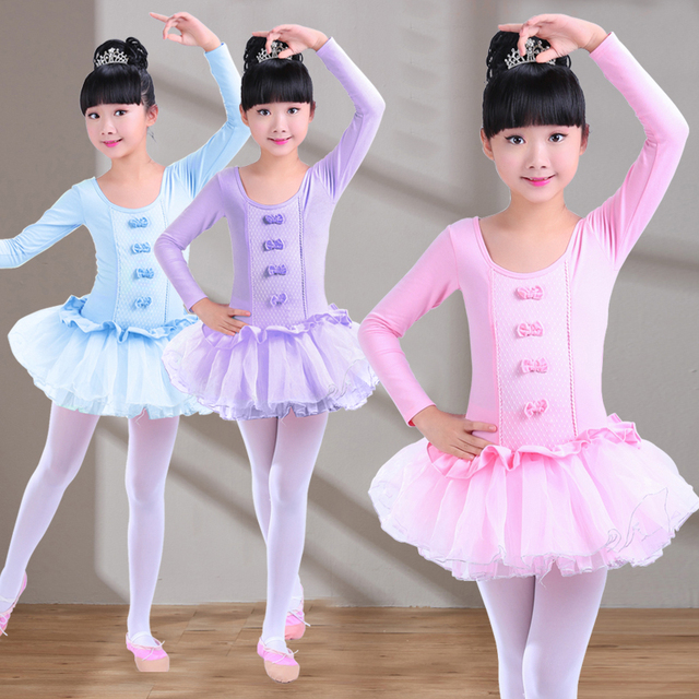 aee232f9544e 2017 Long Sleeve Children Gymnastics Leotard For Girls Lace Bow knot ...