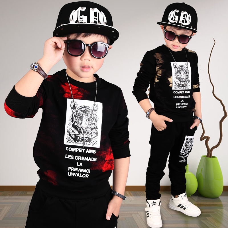 ФОТО 2017 Kids Spring and Autumn paragraph long-sleeved cotton fashionable sportswear