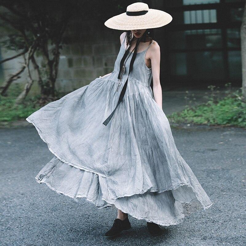 Kadın Giyim'ten Elbiseler'de Cakucool 2019 bahar ve yaz pamuk askı elbise düzensiz büyük salıncak etek edebi kıvrımlar çok peri elbisesi'da  Grup 2
