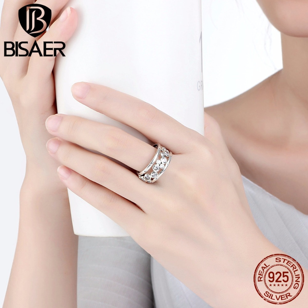 BISAER Wedding Ring Real 925 Sterling Silver Classic Round Circle ...