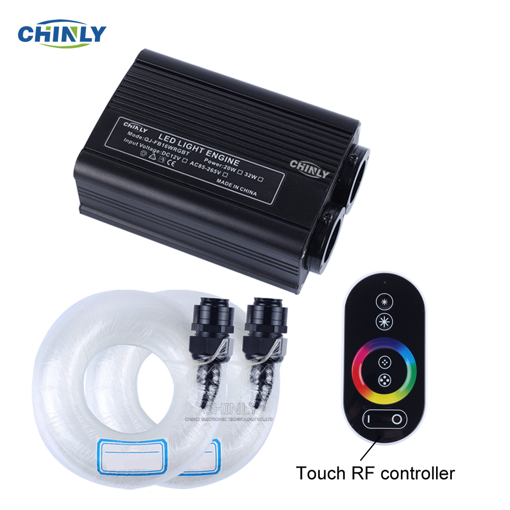 32W RGBW LED Fiber Optic Engine Driver Double Light Source Heads RF Touch Remote Controller For All Fiber Optic Cable Lighting