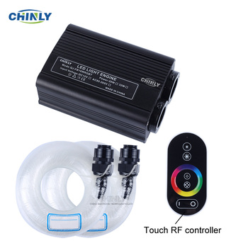 32W RGBW LED Fiber Optic Engine Driver double Light Source heads RF Touch Remote Controller for all fiber optic Cable Lighting white light interferometric fiber optic sensors
