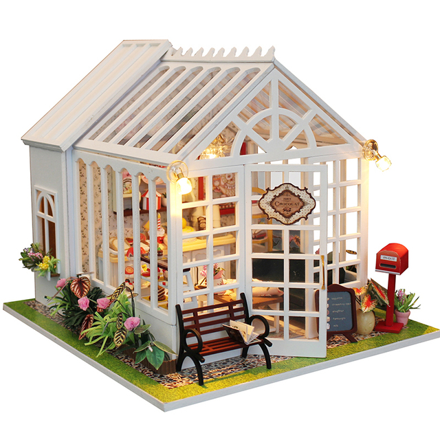 Home Decor Diy Wooden House Miniatura Craft With Furniture Home