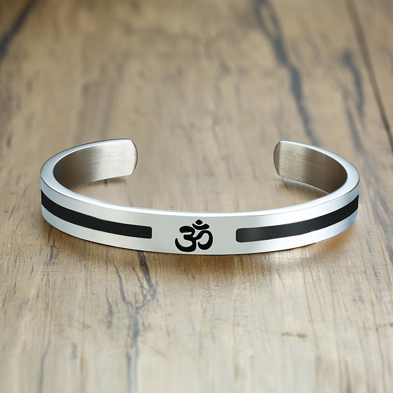 9cd8d7ad98be31 Men's OM Ohm Aum Hindu India Cuff Bangle Bracelet for Men Half Open Stainless  Steel Religion Jewelry-in Cuff Bracelets from Jewelry & Accessories on ...