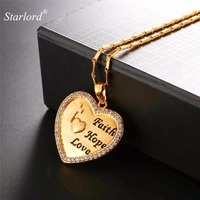 Starlord Engraved Heart Necklace With Bible Verse Faith Hope Love Gold Silver Color Christian Jewelry Wedding