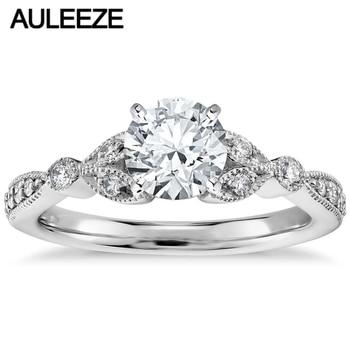 6b7b65590d96 Vintage Petite Pave de laboratorio crecido anillo de compromiso de diamante  1CT