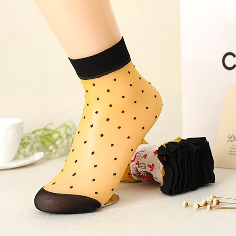 2016 Autumn Women Socks Crystal Silk Transparent Thin Socks Female Dot Candy Color Socks New Women's Clothing Wholesale 10 Pairs (5)
